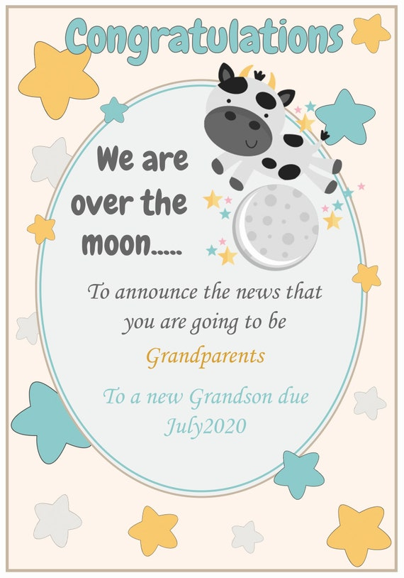 Personalised Over The Moon New Baby Grandparents Celebration Card