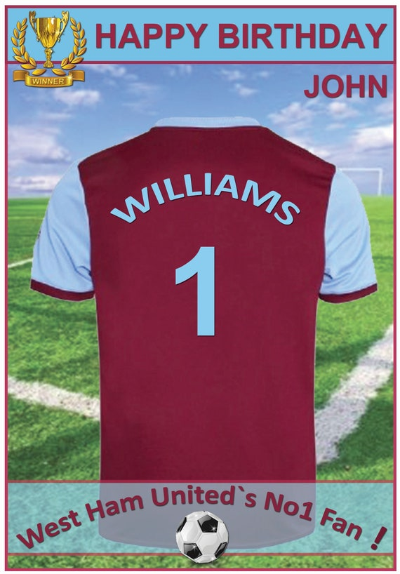 Personalised West Ham Inspired Birthday Card (2 Designs) - 19-20