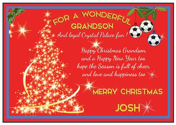 Personalised Crystal Palace Theme Christmas Card (2 Designs)