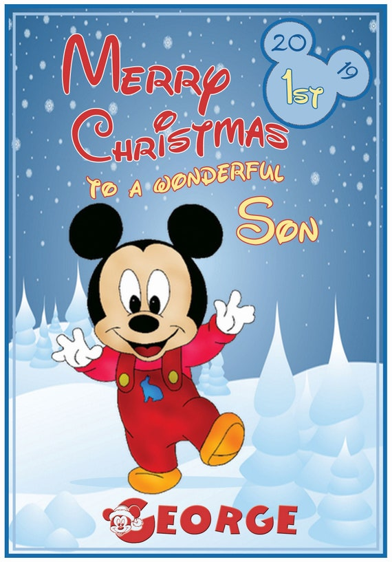 Personalised Mickey or Minnie 1st Christmas Card (2 Designs) - Lovely !