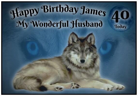 Personalised Mystical Wolf Birthday Card