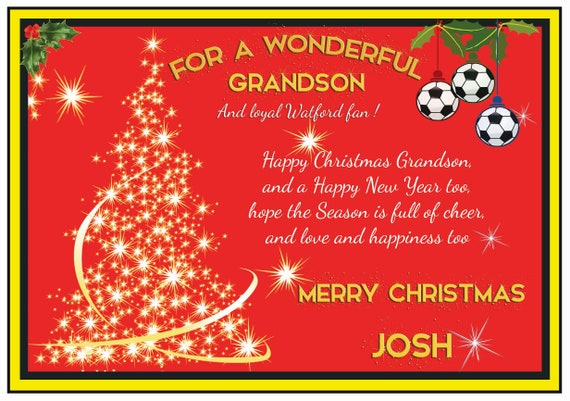 Personalised Watford Theme Christmas Card (2 Designs)