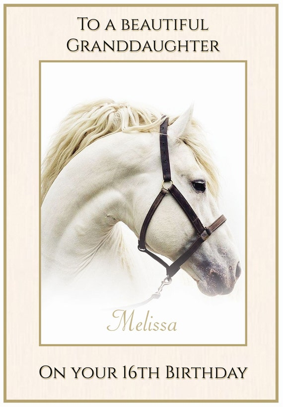 Personalised White Beauty Horse Themed Birthday Card
