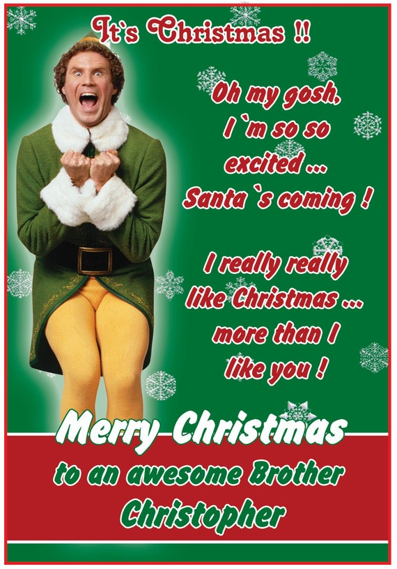 Personalised Elf Theme Funny Christmas Card - Lovely !