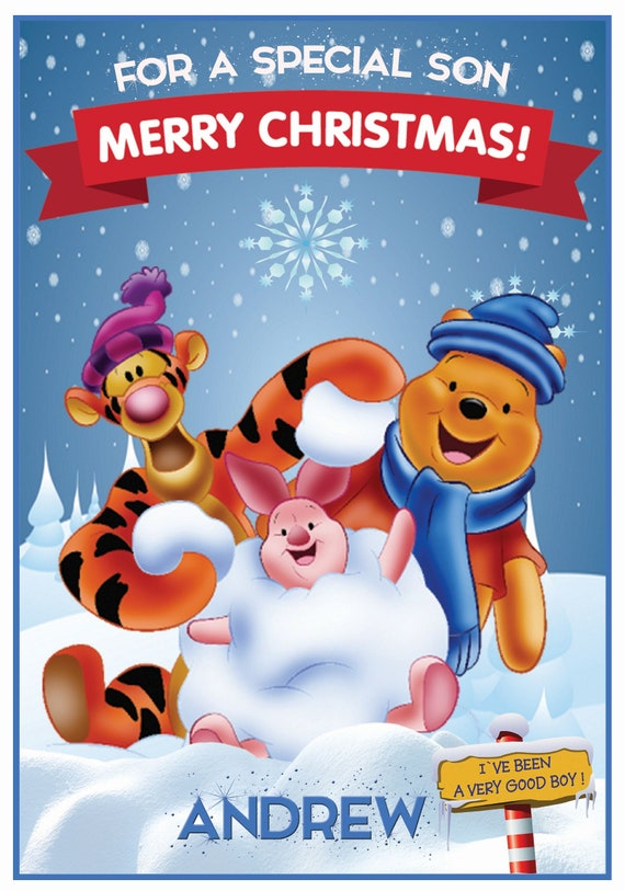 Personalised Winnie The Pooh Inspired Christmas Card (2 Designs) - Lovely !