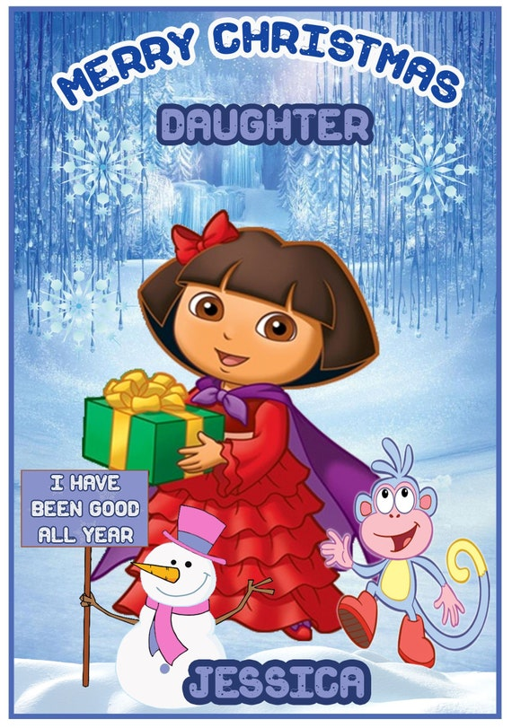 Personalised Dora The Explorer Inspired Christmas Card (2 Designs) - Lovely !