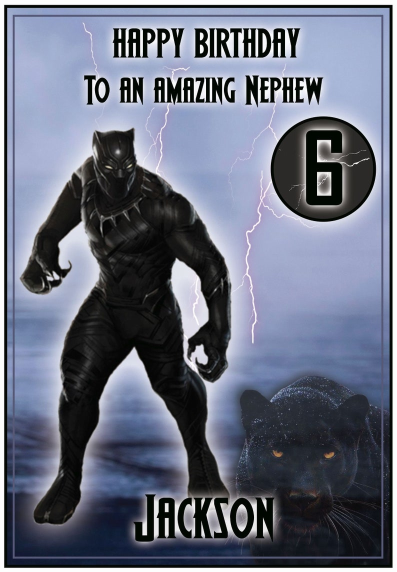 AGE BLACK PANTHER PERSONALISED BIRTHDAY CARD RELATION ANY NAME