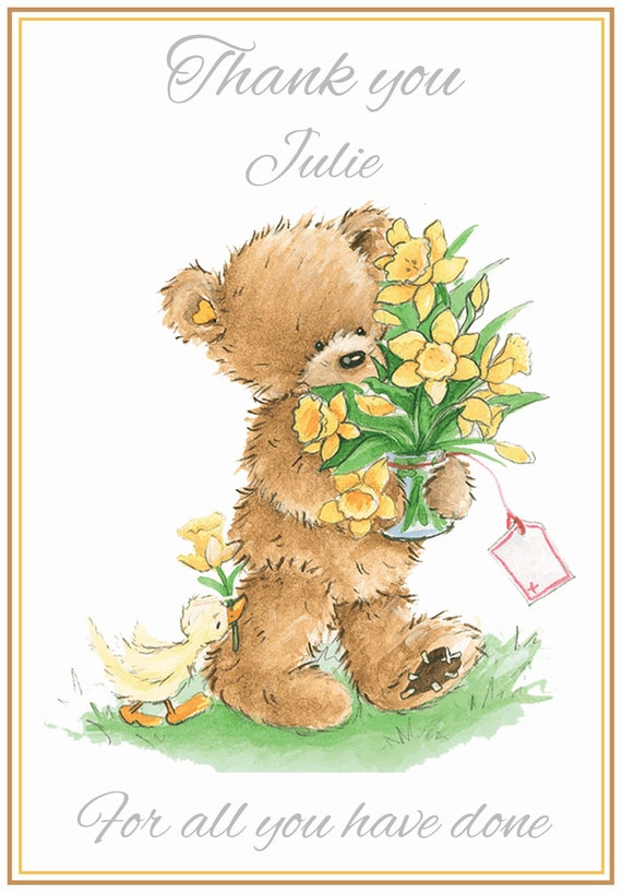 Personalised Cute Brown Bears Thank You Card - Lovely !