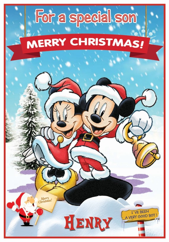 Personalised Mickey & Minnie Mouse In Snow Christmas Card (2 Designs) - Lovely !