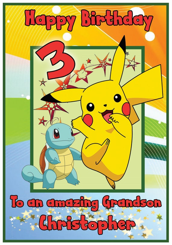 Personalised Birthday card Pikachu any name//relation//age