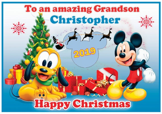 Personalised Mickey or Minnie Mouse With Pluto Christmas Card (2 Designs) - Lovely !
