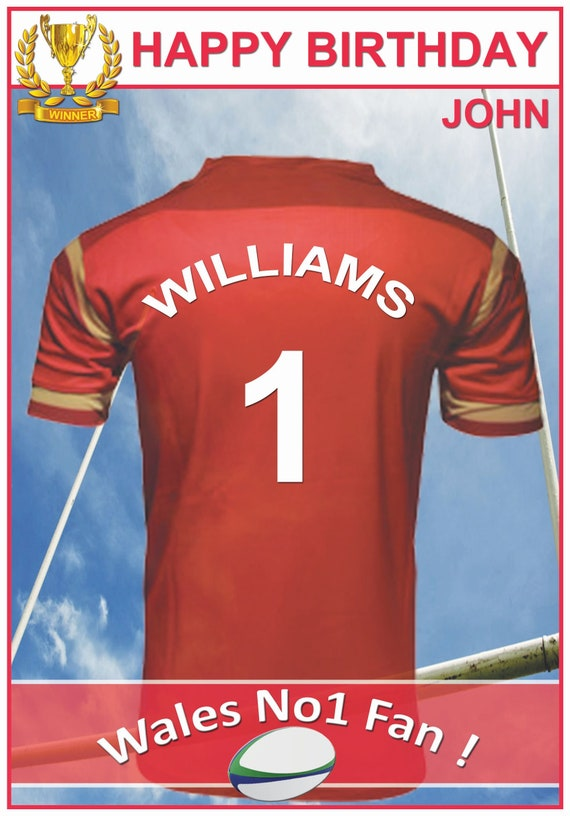 Persoanlised Wales Inspired Rugby Birthday Card (2 Designs)