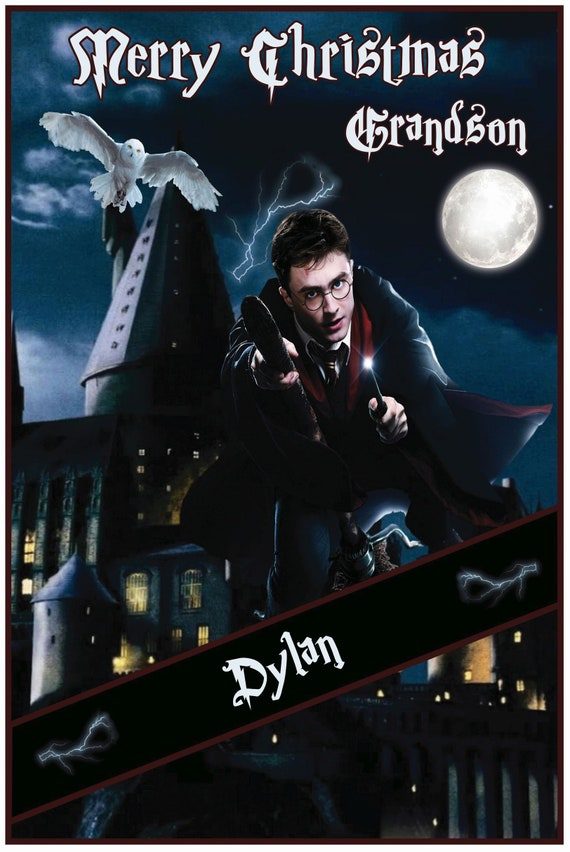 Personalised Harry Potter In Flight Christmas Card