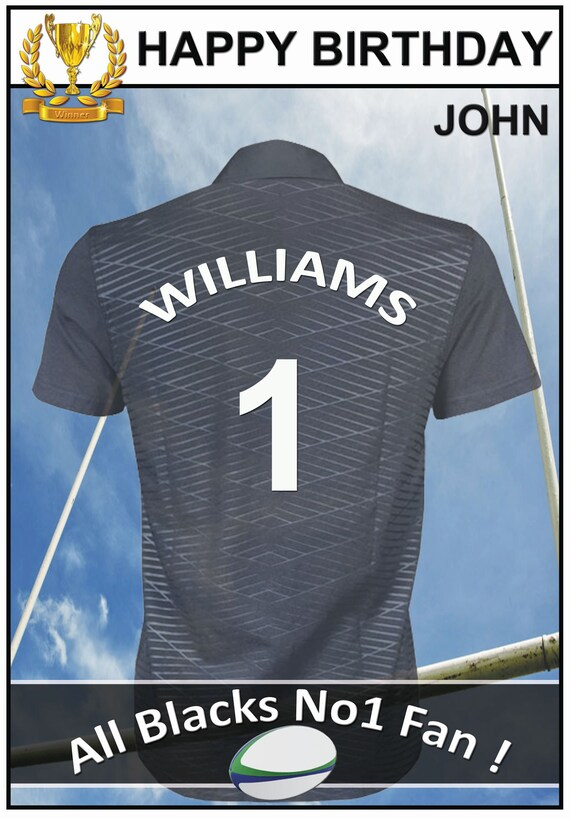 Personalised All Blacks Inspired Rugby Birthday Card (2 Designs)