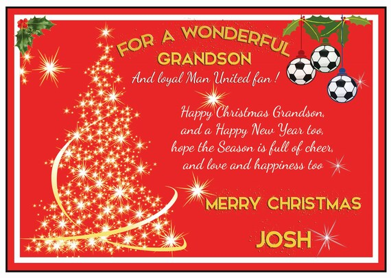 Personalised Manchester United Theme Christmas Card (2 Designs)