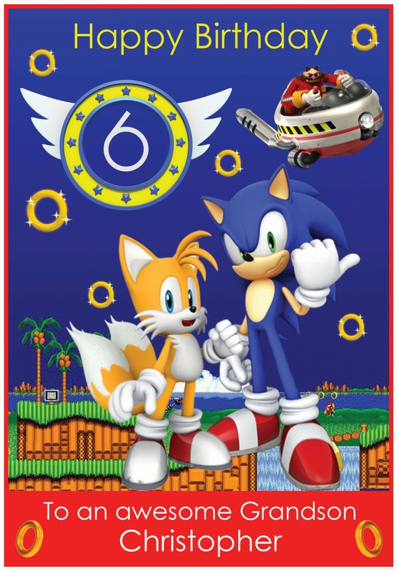 Personalised Sonic The Hedgehog Inspired Birthday Card