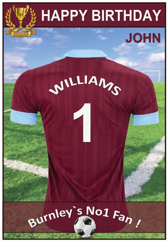 Personalised Burnley Inspired Footbal Birthday Card (2 Designs)