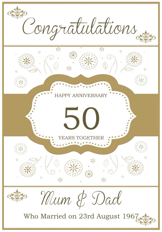Personalised Golden Celebrations Anniversary Card