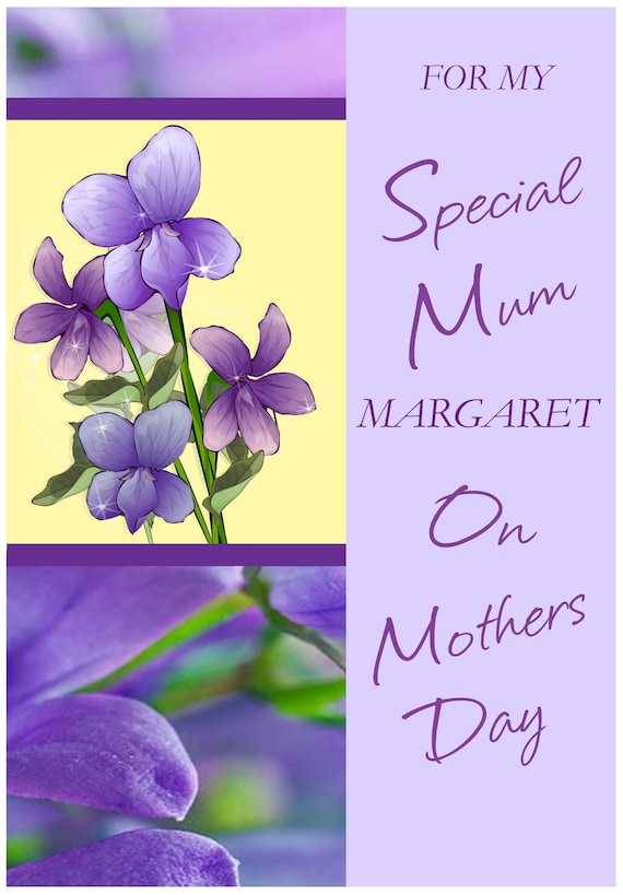 Personalised Lilac Bouquet Theme Mothers Day Card