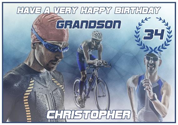 Personalised Triathlon Birthday Card