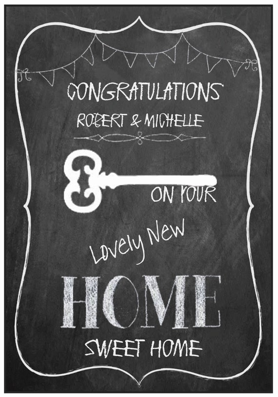 Personalised New Home Chalkboard Effect Card