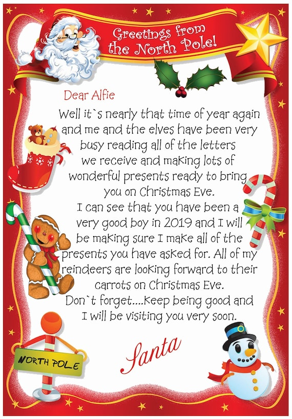 Personalised Letter From Santa Christmas Card (2 Cards) - Lovely !