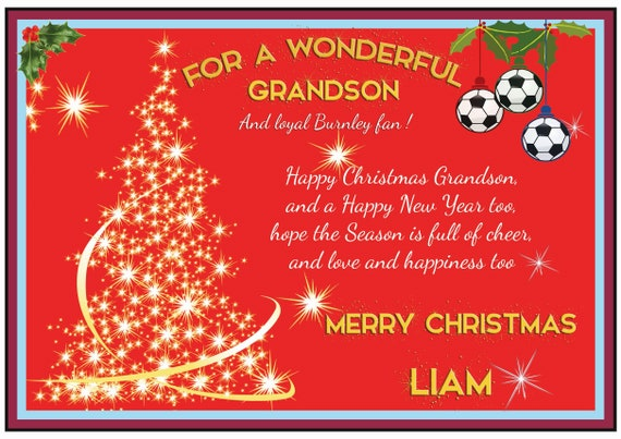 Personalised Burnley Theme Christmas Card (2 Designs)