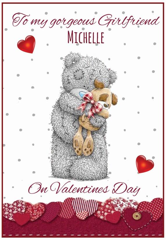 Personalised Cute Teddy & Dog Valentines Card