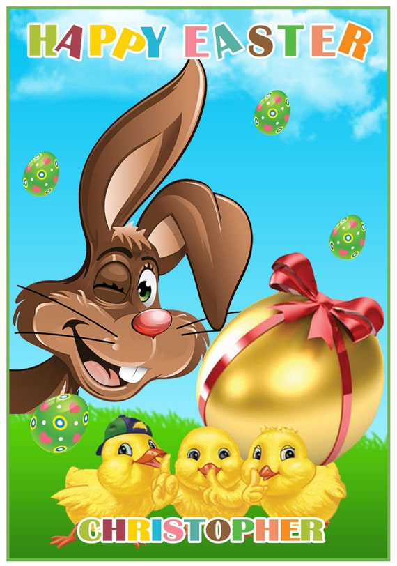 Personalised Bunny and Chicks Easter Card