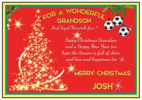 Personalised Norwich Theme Christmas Card (2 Designs)