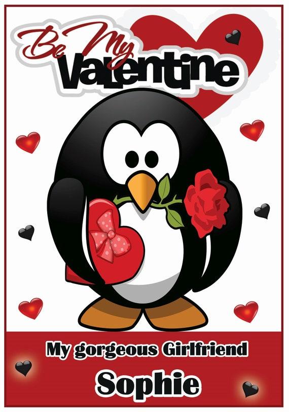 Personalised Cute Penguin Valentines Card