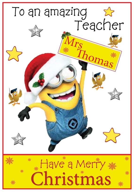Personalised Minions Inspired Teacher Christmas Card - Lovely !