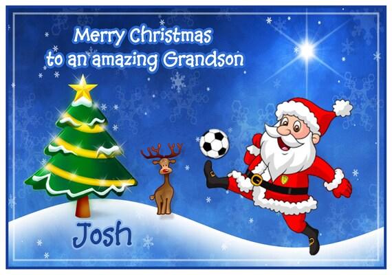 Personalised Football Santa Christmas Card