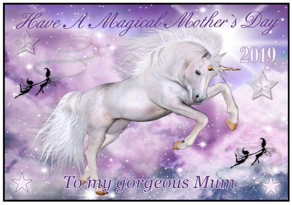 Unicorn and Fairies Theme Mothers Day Card