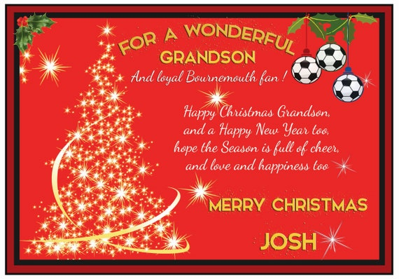 Personalised Bournemouth Theme Christmas Card (2 Designs)