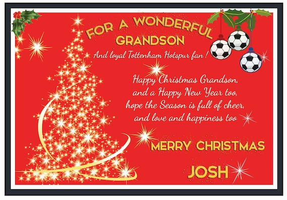 Personalised Tottenham Hotspur Theme Christmas Card (2 Designs)