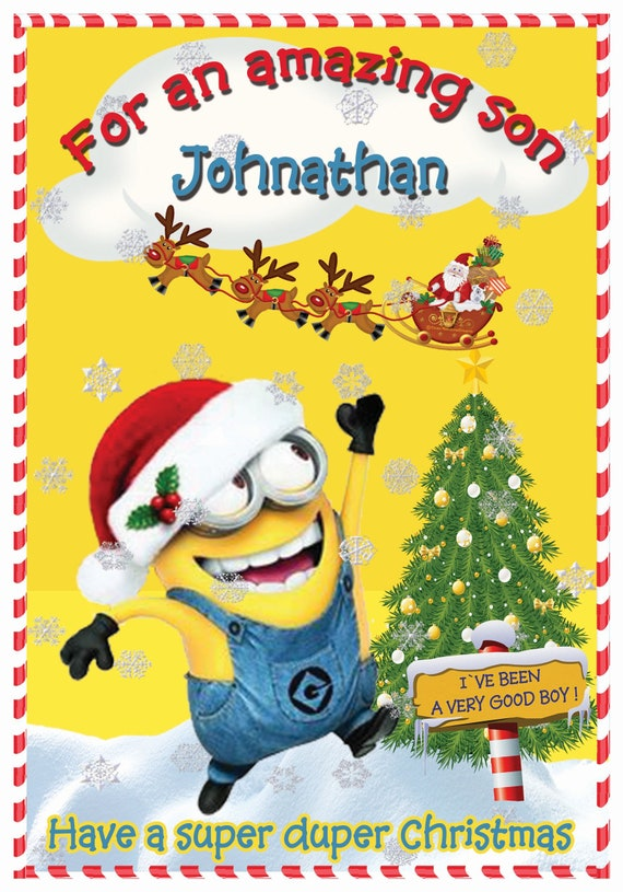 Personalised Minions Inspired Yellow Theme Christmas Card (Boy or Girl) - Lovely !