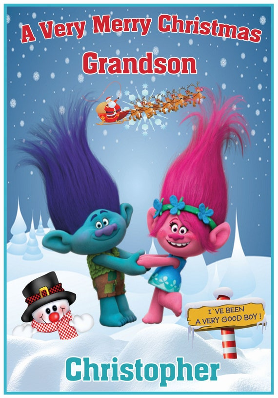 Personalised Trolls Inspired Christmas Card (2 Designs) - Lovely !