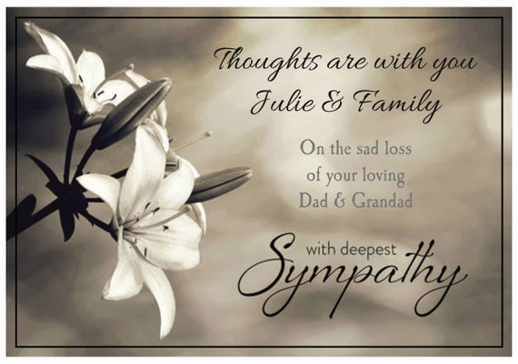 Personalised White Lily Sympathy Bereavement Card - Lovely !