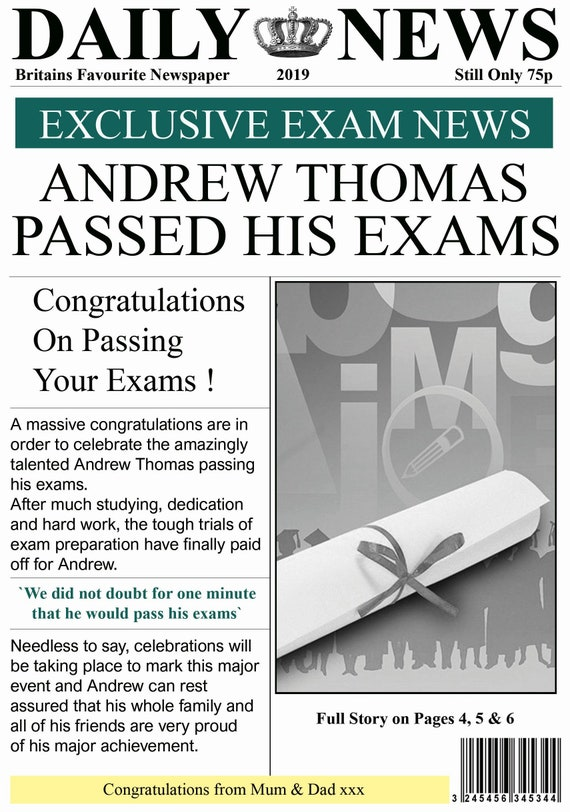 Personalised Exams Passed Newspaper Theme Card