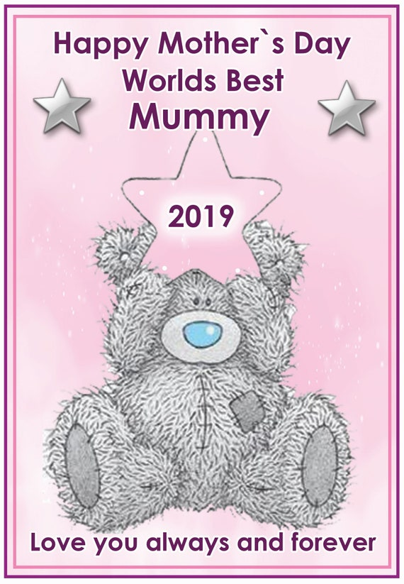 Personalised Teddy With Star Mothers Day Card