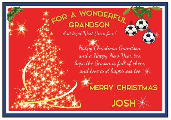 Personalised West Bromwich Albion Theme Christmas Card (2 Designs)