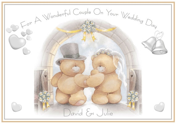 Personalised Bears In Love Wedding Congratulations Card - Lovely !