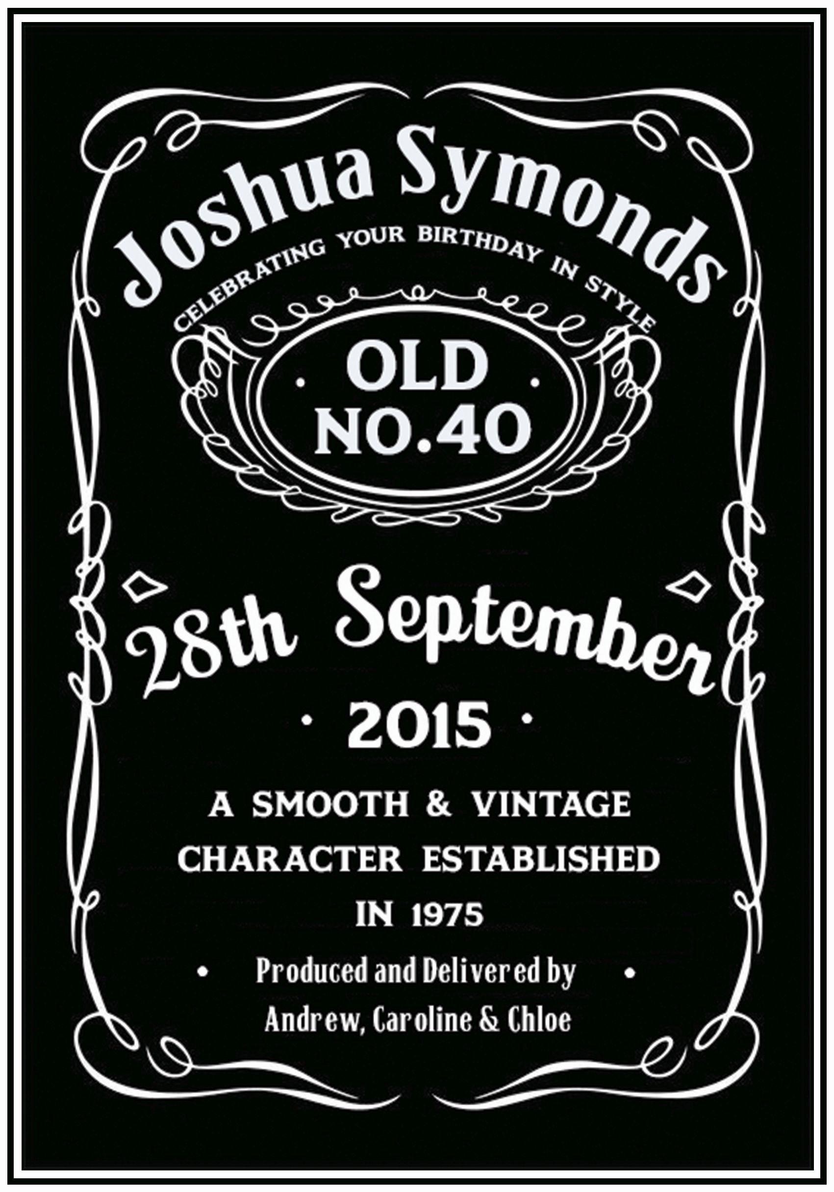 Personalised Jack Daniels Inspired Birthday Card Pertaining To Blank Jack Daniels Label Template