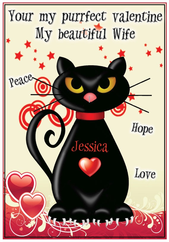 Personalised Wicked Cat Valentines Card
