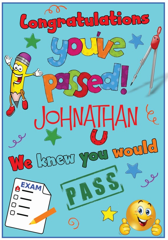 Personalised Exams Passed Card (3 Colours)