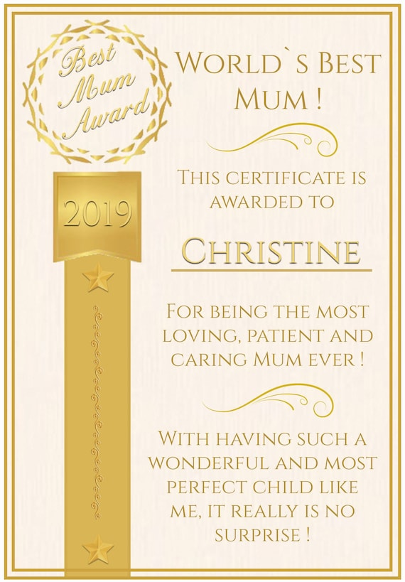 Personalised Classic Award Theme Mothers Day Card