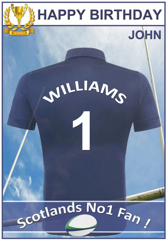 Personalised Scotland Inspired Rugby Birthday Card (2 Designs)