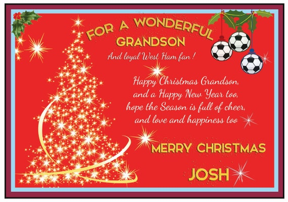 Personalised West Ham United Theme Christmas Card (2 Designs)