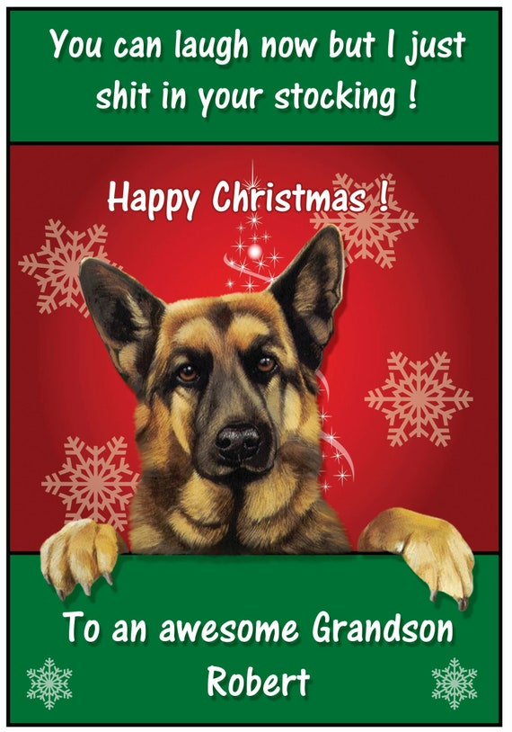 Personalised & Funny Shit in your stocking Alsatian Christmas Card